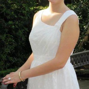 Aidan Mattox white with polkadot ball gown dress